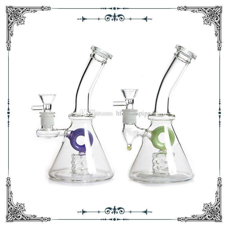 American fluorescence color circle glass beaker bong with holes perc glass smoking water pipe hookah shisha bongs 14.4mm joint free shipping