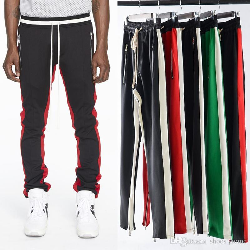 bottom price wholesale attractivefashion 2019 Mens Zipper Pants Hip Hop Fear Of God Fashion Sweatpants Red Bottoms  Justin Bieber FOG Joggers Pants Streetwear From Shoes_home, &Price; | ...