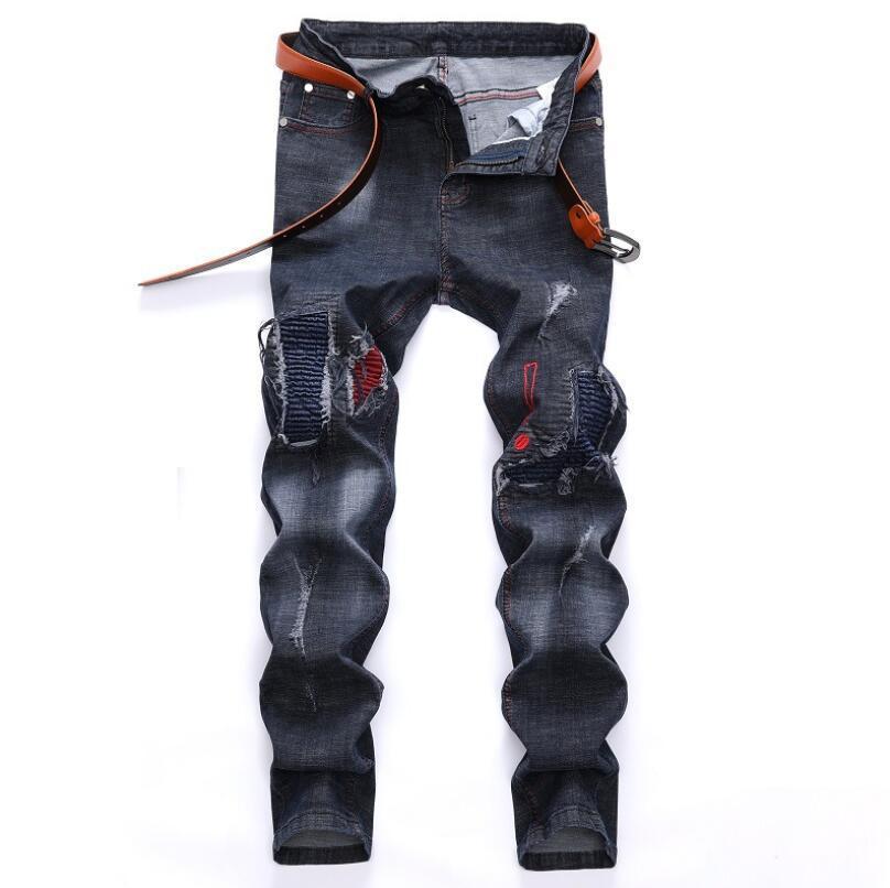 Pantaloni maschii casuali dei jeans strappati pantaloni della rappezzatura degli uomini strappati pantaloni a vita bassa stampati del beggar stampato Trasporto libero