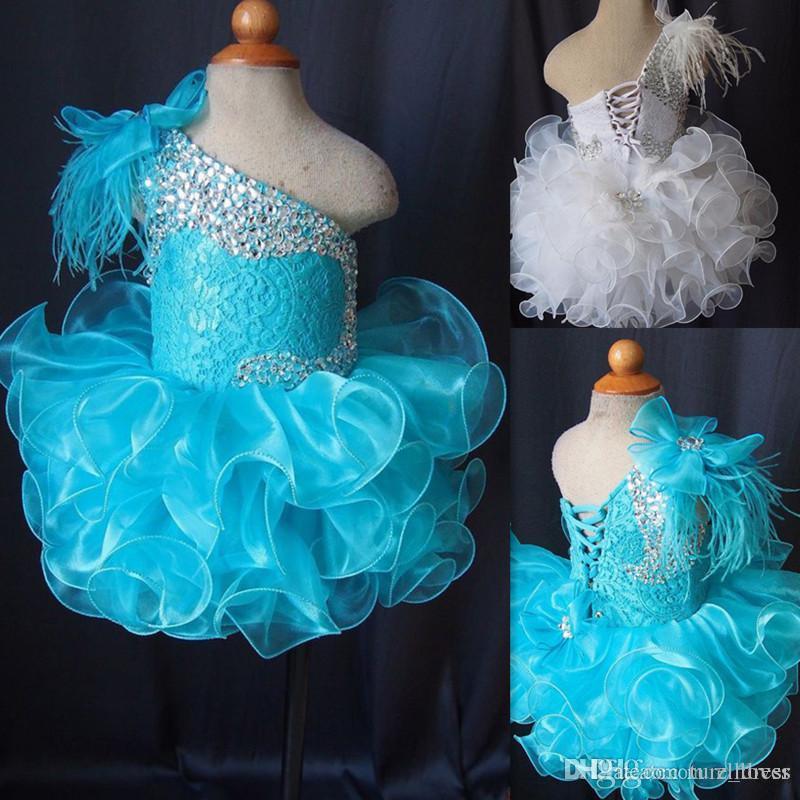 Kleinkind pageant kleider blau eine schulter lace up cupcakes mädchen pageant kleider kristall perlen spitze organza rüschen kleine kinder prom dress