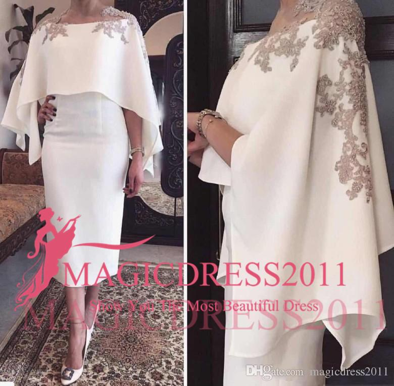 2019 Sereia Mãe Dos Vestidos de Noiva Jewel Pescoço Cinza Lace Apliques Frisado Com Envoltório Chá Curto Comprimento Do Partido Noite Vestidos De Convidados Do Casamento