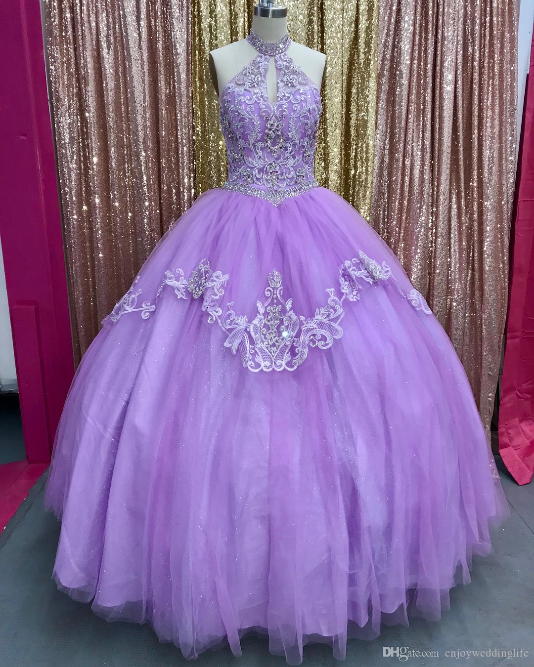 Светло-фиолетовый воротник с бисером Tquinceanera платья 2019 New Ongyza кружево-аппликационные бисером баллы сладкие 15 конкурса платья платья