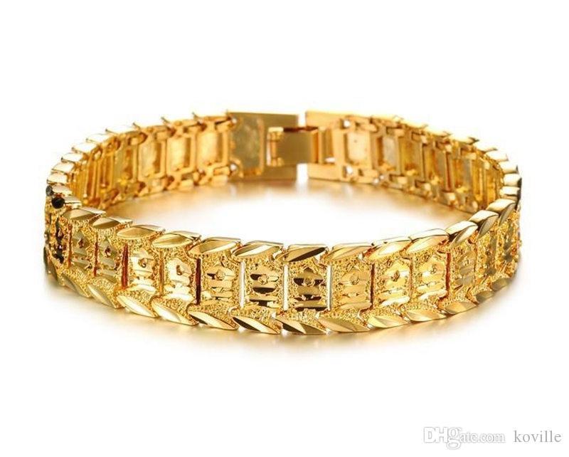 Brazalete Pulseras Para Mujeres Hombres 18K Oro Amarillo Real Rellena Pulsera Reloj Sólido Enlace de Cadena 8.3inch Pulseras de Oro KKA1846