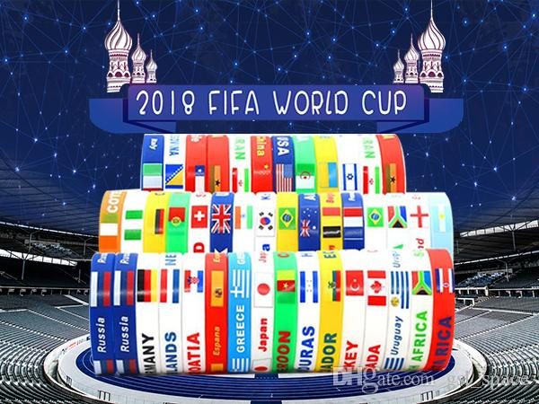 Özelleştirilmiş Ülkeler Ulusal Bayrak Tasarım Bilezikler 100% Silikon Bileklik Spor Spor Dünya Kupası Için Bilezikler Bilezik Seyahat Bilezikler