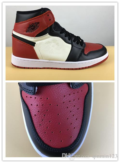super popular 9dc0e 2af6f 2018 New True 1 High OG Bred Toe Black Red Men Basketball Shoes Sports  Sneakers Top Quality Wholesale Box Size 8 13 Mens Shoes Sneakers From ...