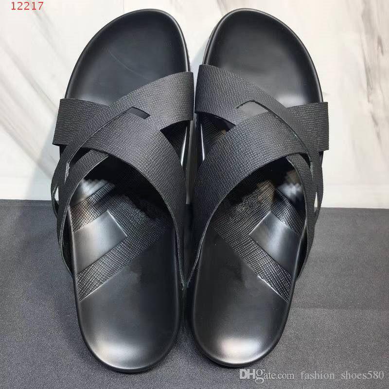 الربيع / الصيف رسالة جديدة مطبوعة الرجال النعال الشاطئ عارضة يجرجر أحذية خفيفة وارتداء يمكن ارتداؤها بشكل مريح مربع الأزياء أعلى الأصلي