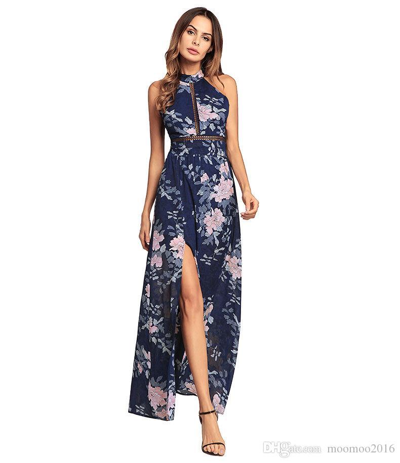 2018 새로운 도착 꽃 인쇄 유령 시폰 롱 드레스 여성 우아한 앵클 길이 백 레스 섹시 비치 캐주얼 드레스 2 색