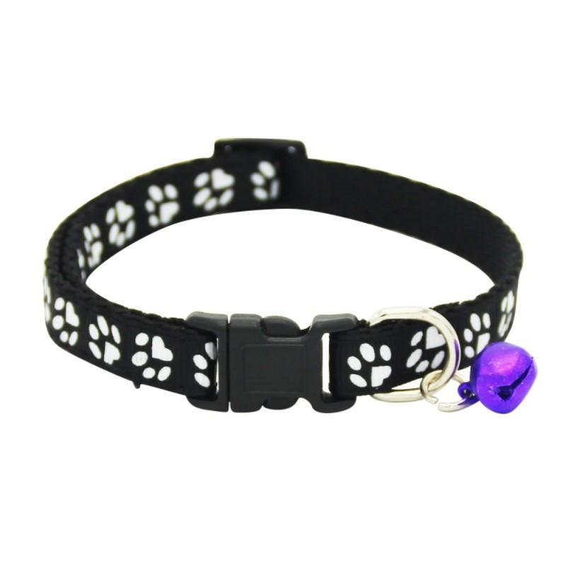 Puppy Kitten Animali domestici Cat Dog Strap Buckle Harness Collare per animali Collare di nylon Modello di impronta di cane Collare con campana Forniture per animali