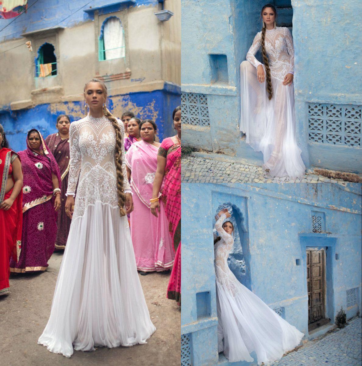 Lior Charchy India Vestidos de novia abiti da sposa Vestido de novia de manga larga con cuello alto Una línea Más el vestido de novia de hadas
