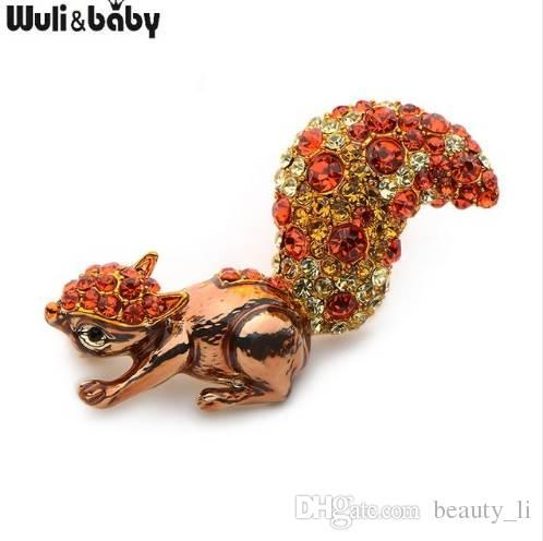 Wuli&baby Alloy Orange Rhinestone Squirrel Brooches Women Men's Crystal Beautiful Animal Banquet Weddings Party Brooch