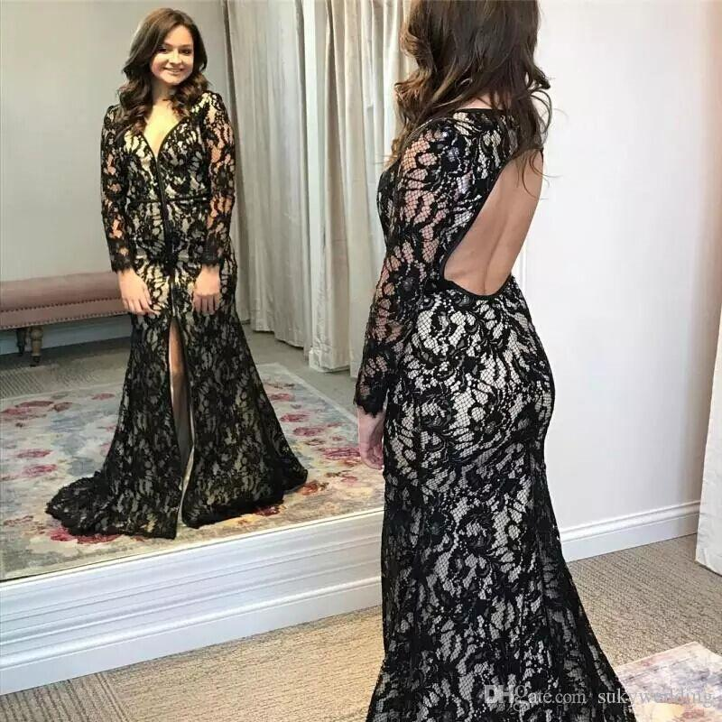 Plus Size Black Lace Mother of Bride Groom Dresses Split Open Back V Neck Mother Evening Gowns Long Sleeves Women Formal Wears