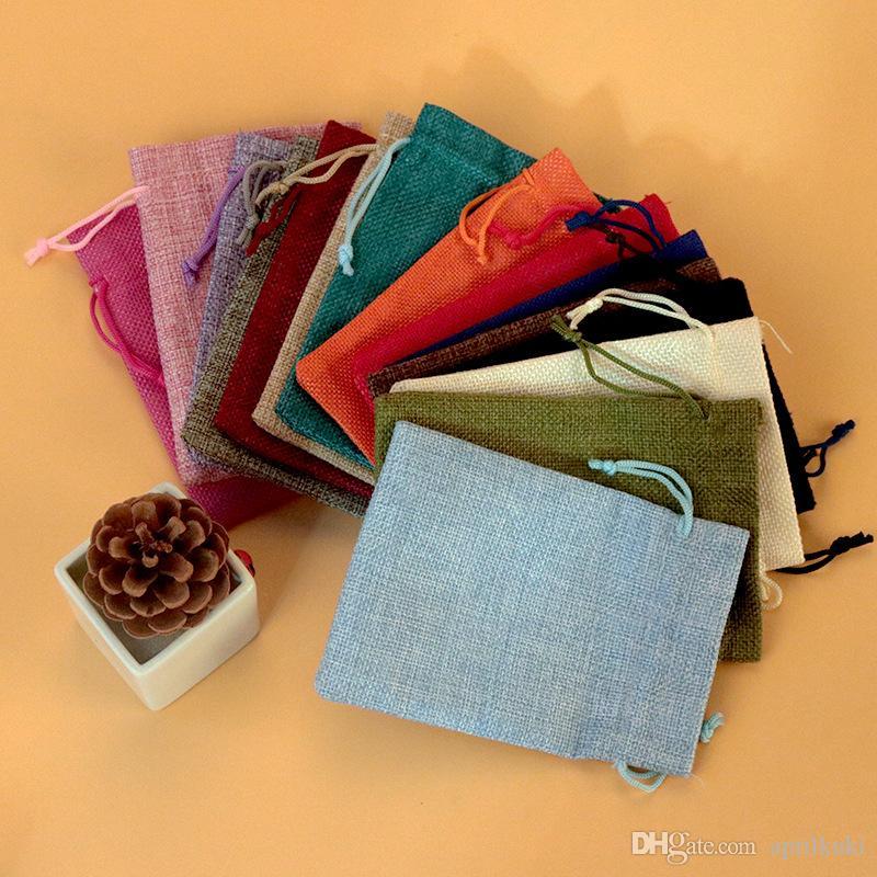 7 * 9 cm 10 * 14 cm 13 * 18 cm 15 * 20 cm 20 * 30 cm 17 * 23 cm 15 farbe Kordelzug Natürliche Sackleinen Tasche Schmuck Verpackung Geschenk Taschen Können Benutzerdefinierte Logo