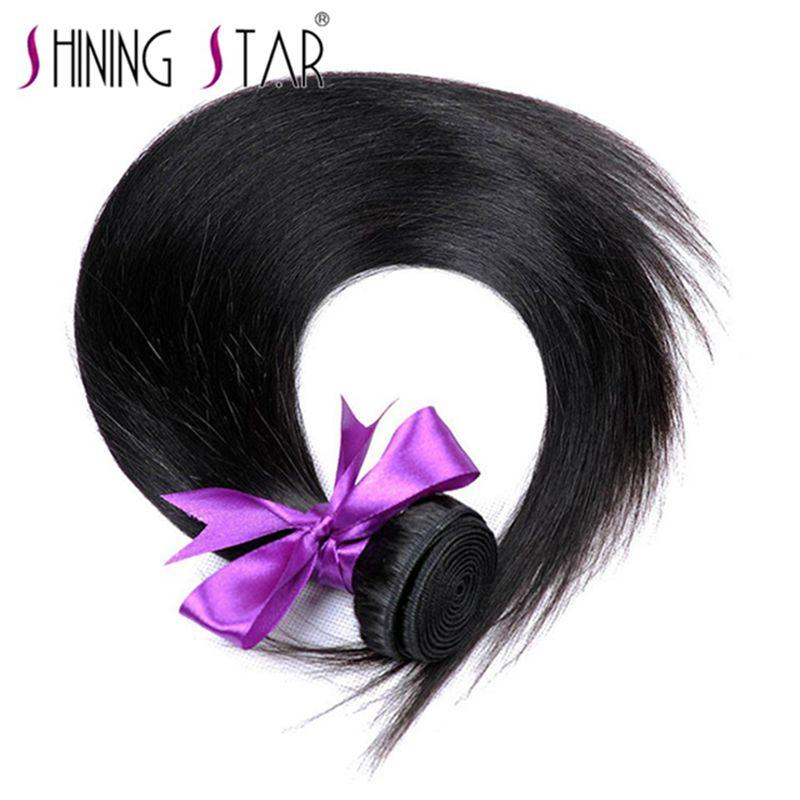 1B Black Color Peruvian Straight Hair Bundles 100% Human Hair Weave Shining Star Thick Hair Extensions Non Remy Can Be Dyed
