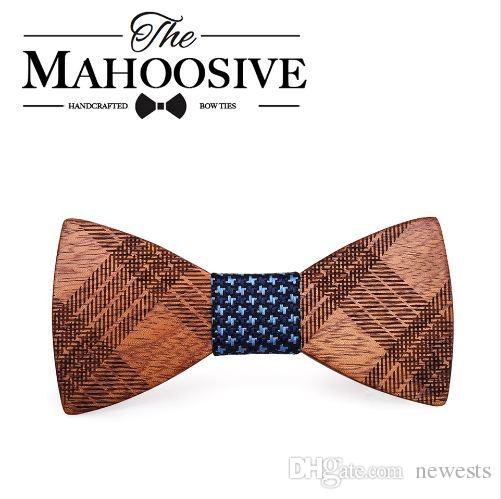 Mahoosive الخشب بابيون للرجال الدعاوى الزفاف القوس التعادل فراشة شكل خشبي bowknots gravatas سليم عنق