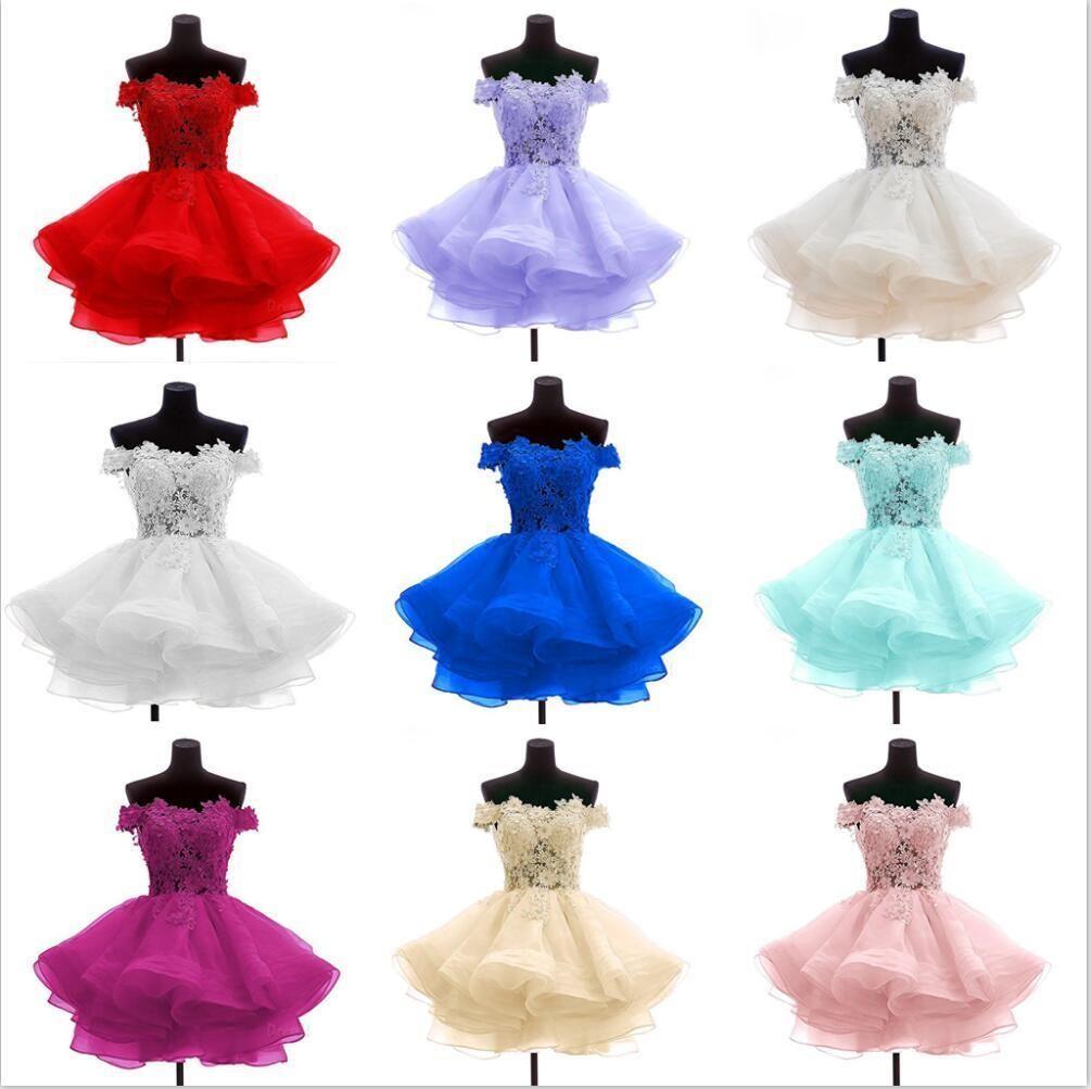 Modest Fora Do Ombro Floral Vestidos de Baile Curtos Bola Rendas 2018 Barato Na Altura Do Joelho Vestidos de Festa À Noite do Baile Vestidos Robe De Soiree