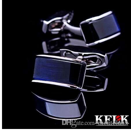 KFLK роскошный новый рубашка запонки для мужской бренд манжеты кнопки запонки синий комплексе gemelos высокое качество abotoaduras ювелирных изделий