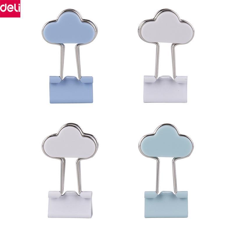 Deli Cloud Binder Clips Lindo Encantador Kawaii Metal Paper Memo Clips Oficina Material Escolar Regalo de Niños Papelería de Oficina (4 unids / pack)