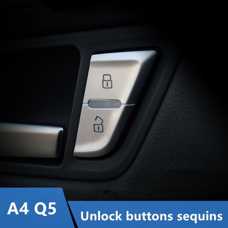 Boutons de porte de voiture Unlock Paillettes décoration pour 4pcs Garniture Couverture Audi A4 09-16 / 10-17 Q5 Chrome ABS style voiture
