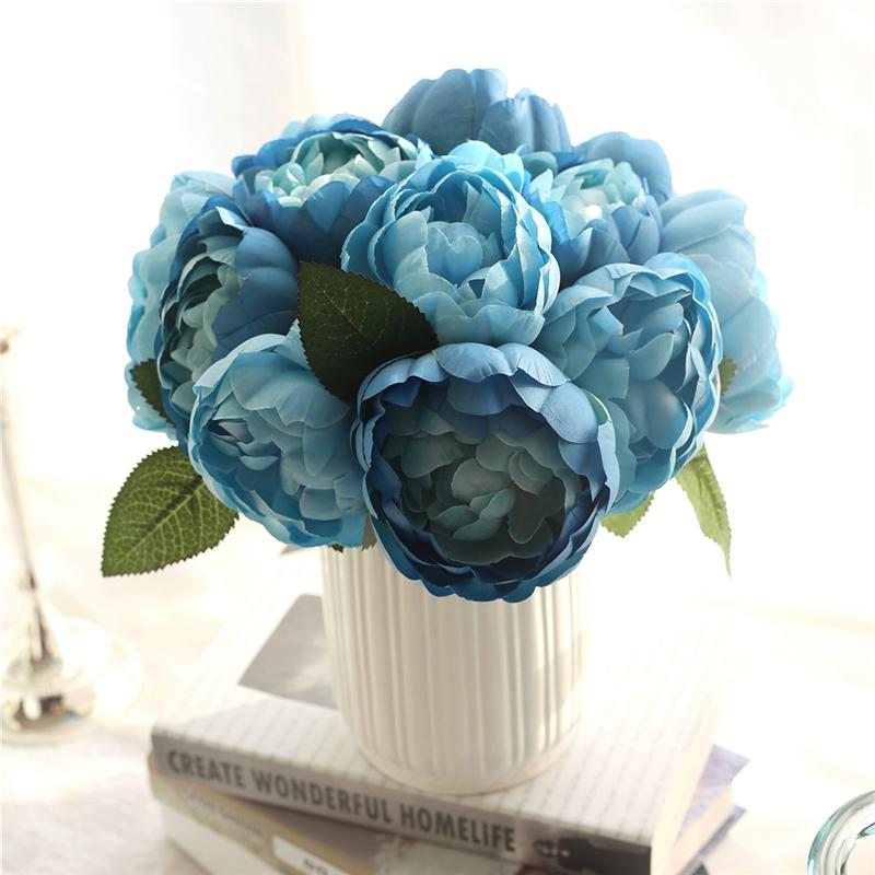 LIN MAN New 6 Heads Damask rose Fake Artificial Peony Silk Decorative Party Flowers For Home Hotel Wedding Office Garden Decor