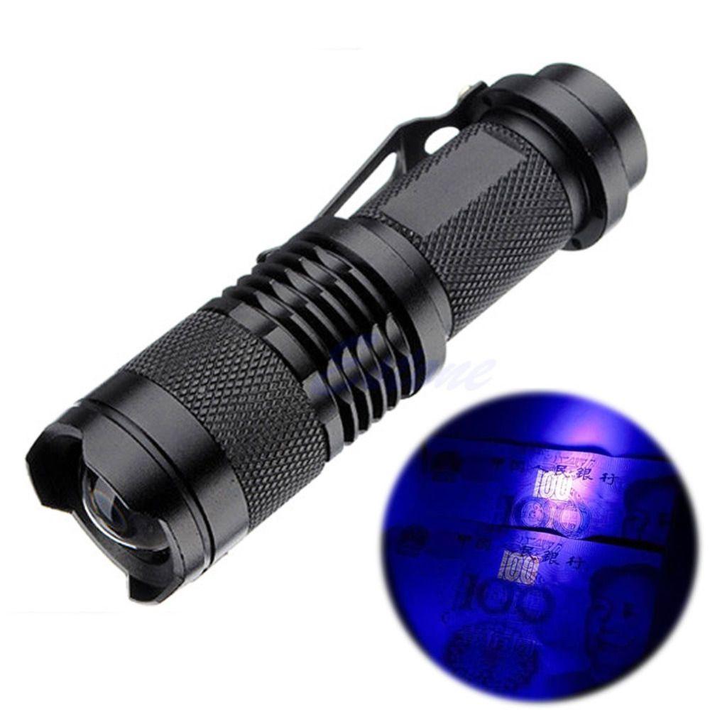 Zoomable Led Uv Flashlight Torch Light 395nm Ultra Violet Light Uv Lamp Battery For Marker Checker Cash Detection