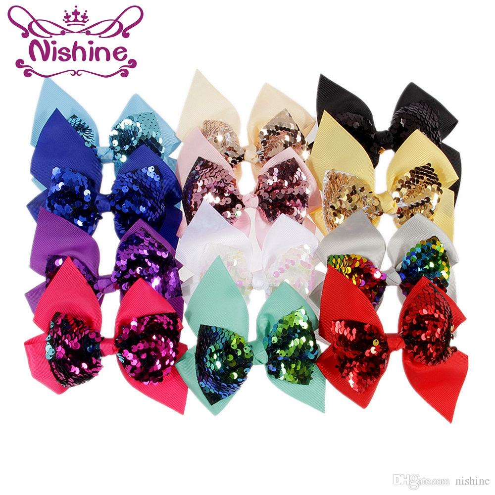 """Nishine 4.8"""" Ribbon paillettes senza clip di Diy l'arco per capelli del bambino della clip Boutique fascia Headwear Accessori per capelli"""
