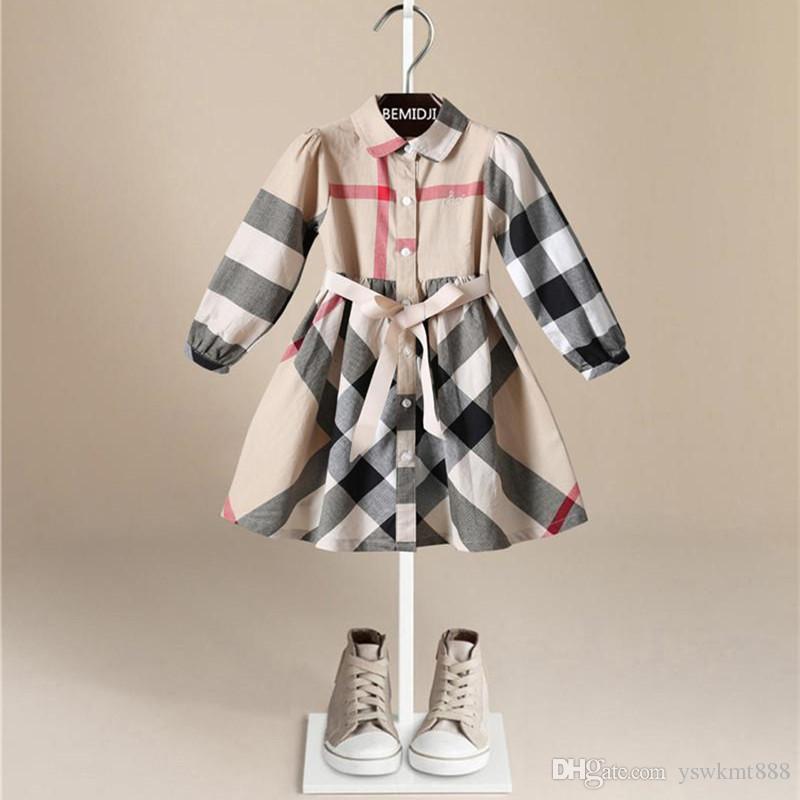 Alta qualità primavera autunno moda Inghilterra stile ragazze vestono maniche lunghe risvolto cintura in puro cotone principessa abito