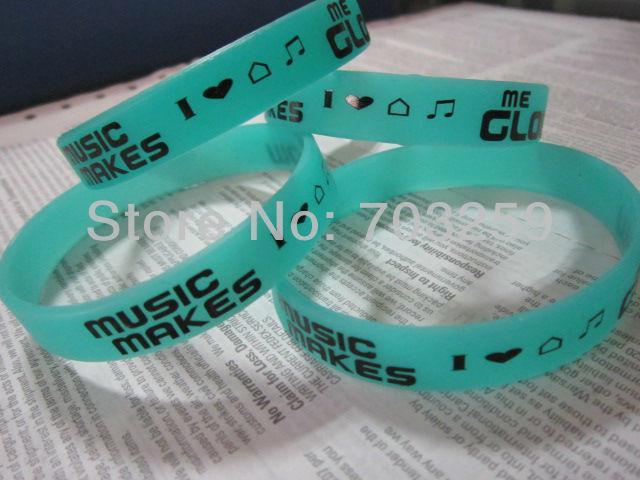 500pcs glow in dark silicone bracelet low price EG-WBG101 custom design fluorescent rubber armband luminous wristband for events
