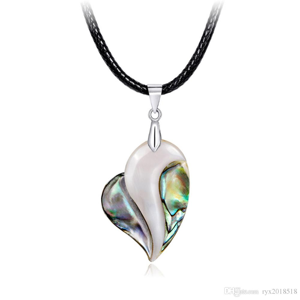 Collana di ciondolo conchiglia abalone naturale collana di gioielli catena cuore maglione colorato san valentino giorno festa della mamma regali