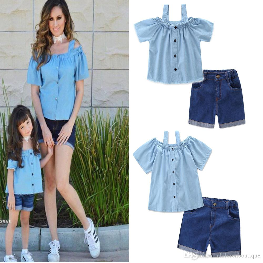 Mother And Daughter Clothes Mommy And Me Matching Family Outfits Women Girls Denim Blouse Condole Belt T Shirt +Shorts 2PCS Sets Family Look