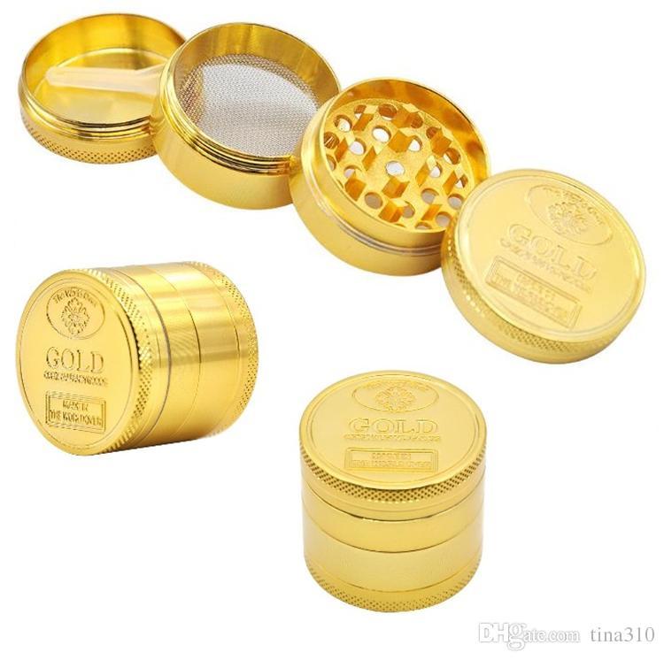Neue Muster Metallbrösler mit 4 Lagen Goldmünze Muster Zubehörhandbuch Rauchmühle I465 Raucher