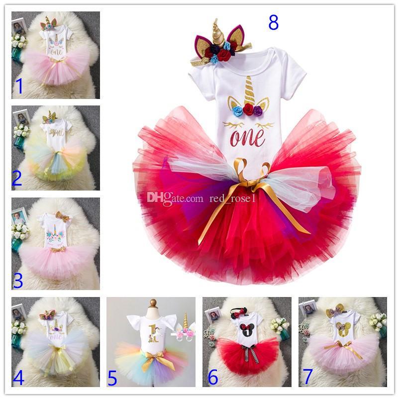 2020 Kız Bebek Giyim 1 Birthday Cake Smash Kıyafetler Bebek Giyim 3PCS Romper + Tutu Etek + El yapımı Çiçek Cap Yenidoğan Bebek Suits ayarlar