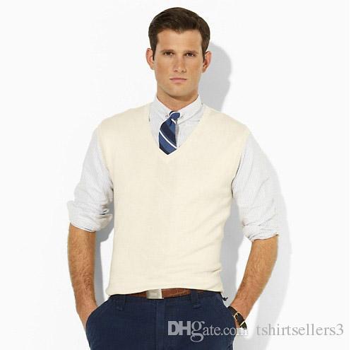 무료 배송 2018 Hot sale V-Neck New Brand 남성용 베스트 민소매 스웨터, 고품질 100 % Cotton Pullovers 폴로 스웨터 (셔츠는 포함되지 않음)