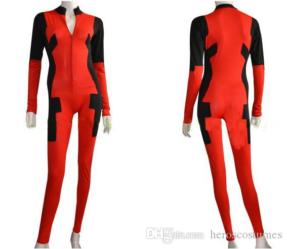 Free Shipping Deadpool Costume Front Zipper Spandex Zentai Woman Bodysuit