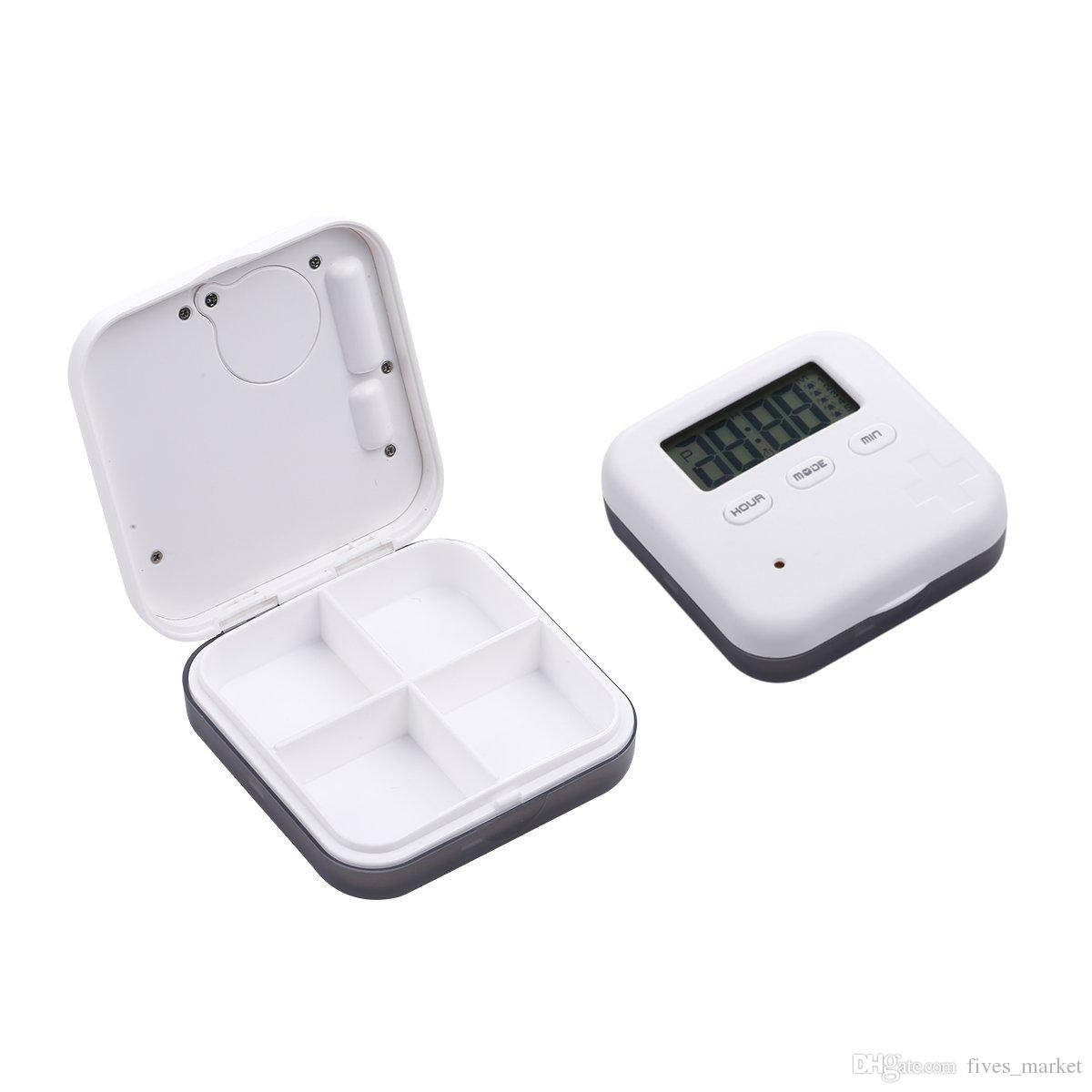 Portable Pill Case Box For 4 And 6 Slots Cross Pill Organizer Container Can SET Reminder Time Square Tablet Case Storage Hold FHH7-1273