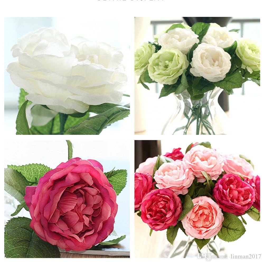 لينمان جودة عالية وهمية الحرير الورود الزهور الاصطناعية مع الأوراق الخضراء للمنزل الزفاف الديكور تسليم باقة