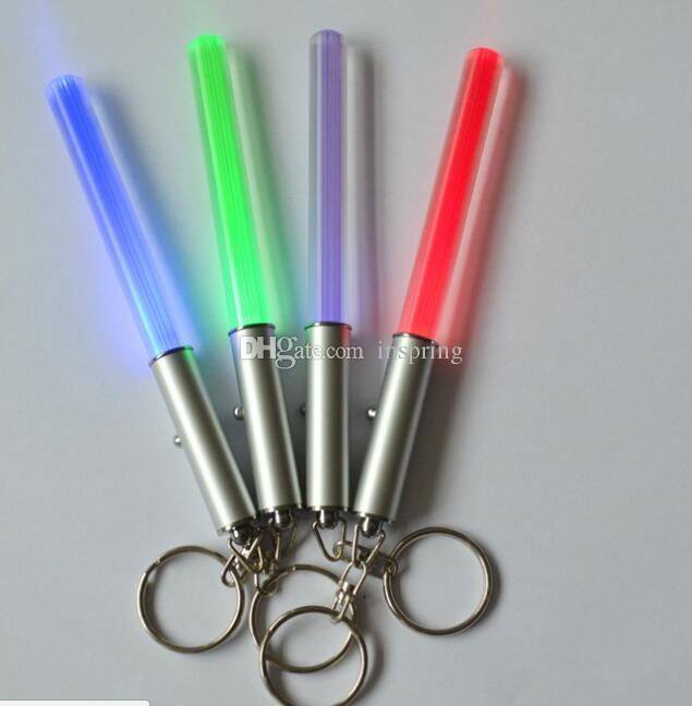 Durable Glow Pen Flash Torch Wand Stick Lightsaber LED Light Keychain New