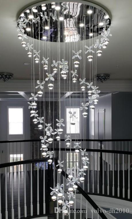 nouveau lustre moderne LED lampes en cristal pendentif long lustre lustres de cristal lustre escalier kronleuchter LLFA
