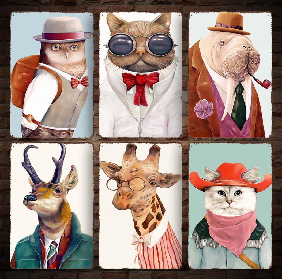 20 * 30 cm Animais Do Vintage Retro Metal Sign Poster gato coruja girafa cartazes placa de parede do clube de arte em casa pintura de metal decoração da parede ff975 100 pcs