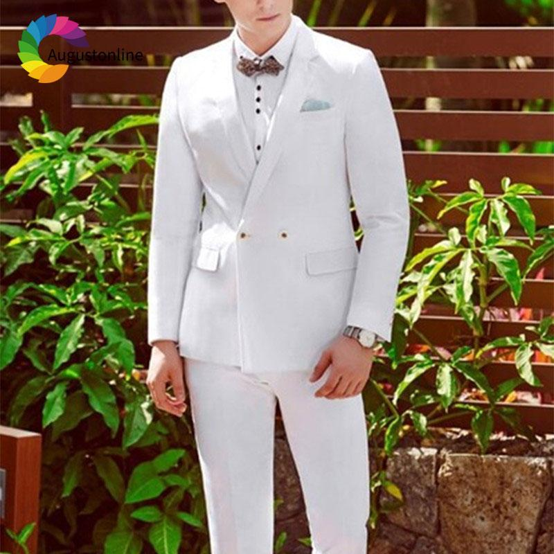 White Wedding Suits for Men Blazer Masculino Custom Made Double Breasted Jacket Pants 2Piece Slim Fit Groom Tuxedo Prom Wear