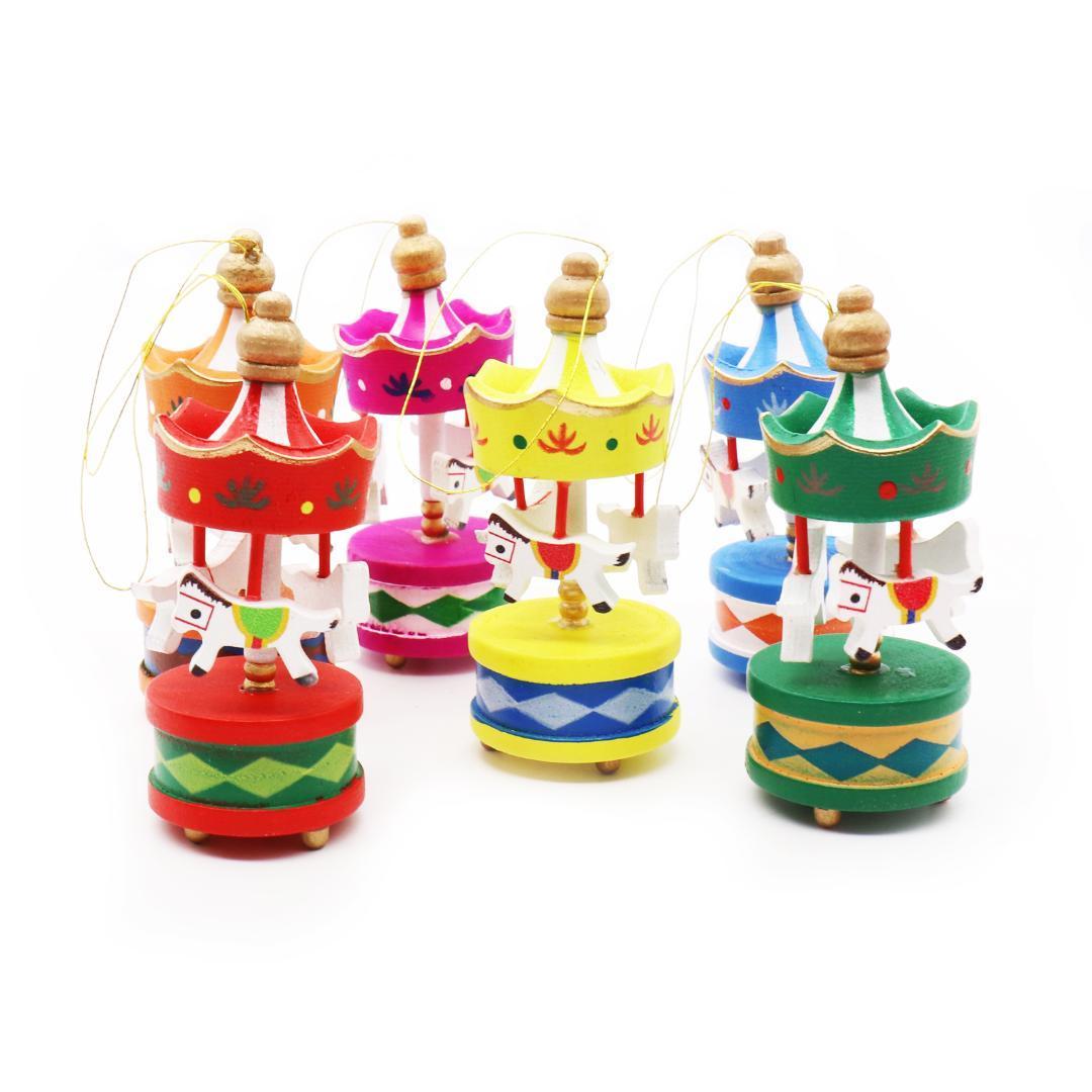 6 unids Carrusel de Madera Colgante Colgante Árbol de Navidad Ornamento Para Niños Fiesta de Cumpleaños de Navidad Decoración Del Hogar