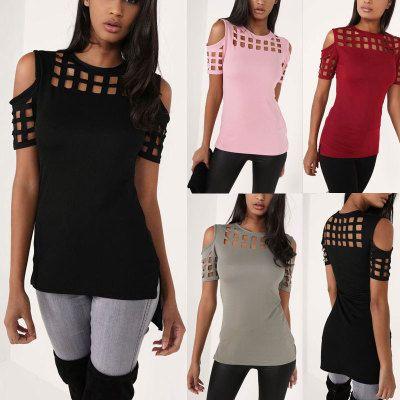 Las nuevas mujeres de la llegada de manga corta camiseta de las señoras de moda gris rosa negro ahueca hacia fuera delgado primavera verano Casual camisetas calientes Tops