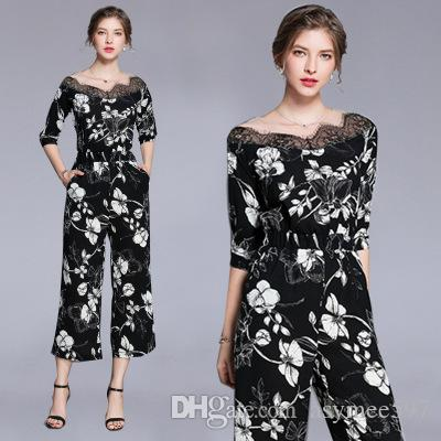 Lady Nice Printing Jumpsuits & Rompers,Half Sleeve,Elastic Waist,Fashion Spring and Summer,One Colour Five Size
