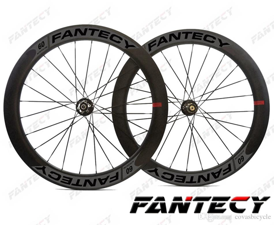 FANTECY road disc brake carbon wheels 700C 60mm depth 25mm width bike clincher/tubular Road Bicycle carbon wheels ,U-shape rim