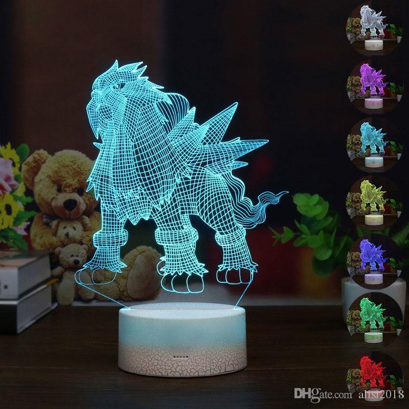 Hot Sale Cartoon LED 3D Entei Night Light RGB 7 Colors Mood 3D Table Lamp for Home Decor Sensor Light