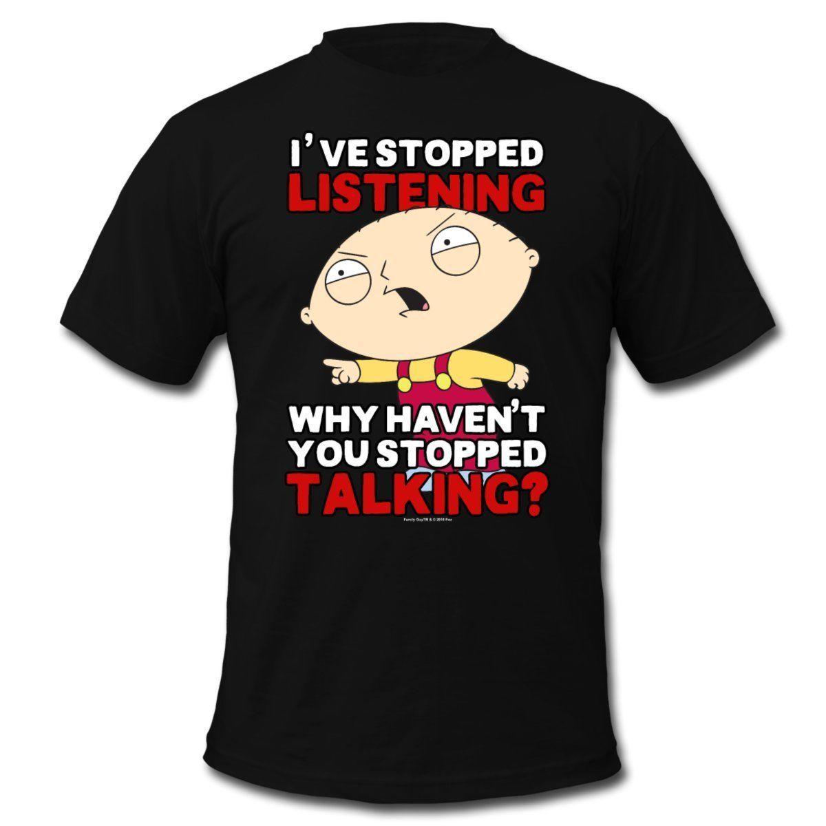 Мультфильм Стьюи перестал слушать мужская футболка лето мужская печать футболка свободные хлопок футболки для мужчин прохладный топы рубашки