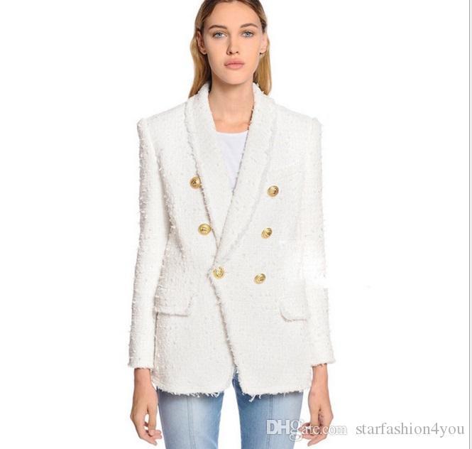 Top Quality Personality Style Mulheres Dupla-Breasted Blazer Design Original Design Slim Shaggy Jaqueta Metal Fivelas de Metal Casaco Xaile Collar Outwear