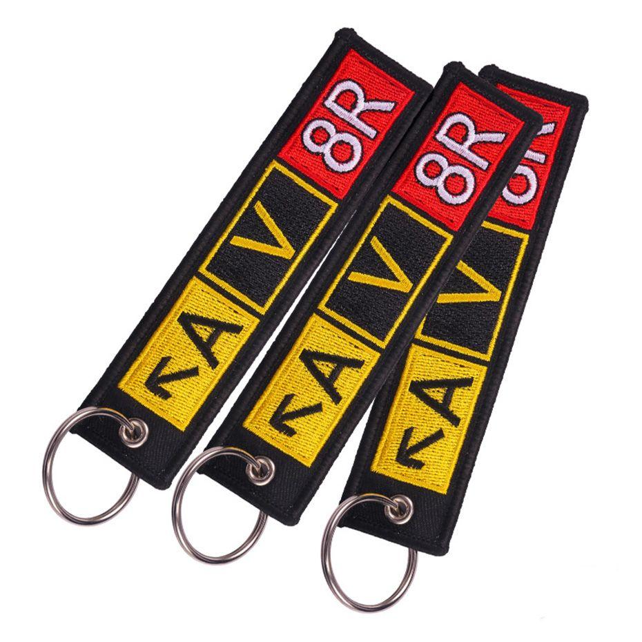 1 Adet Önce Uçuş Nakış Anahtar Zincirleri Havaalanı Taksit Anahtarlık AV8R Bagaj Etiketi Koruyucu Striping Llaveros SP1490