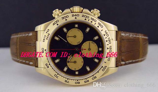 Orologi di lusso Bracciale in pelle marrone da 40 mm in oro giallo 18 kt Quadrante nero da uomo in Newman - Orologio meccanico automatico da uomo 116518