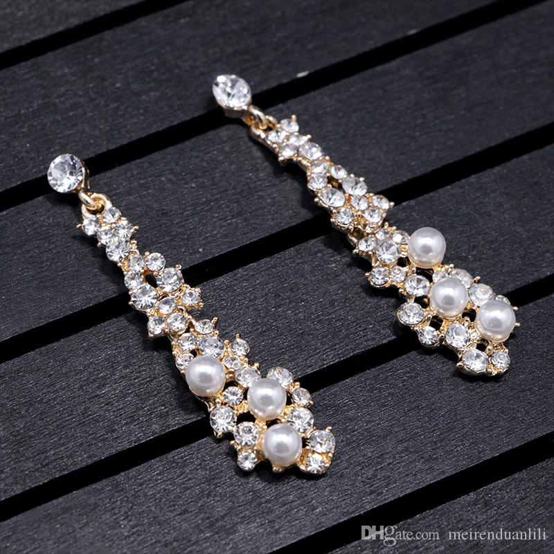Sparkly Zircon Drop Earrings For Women Vintage Pearl Long Earrings Dangle Exaggerated Style High Quality Designer Jewelry Earrings Fashion