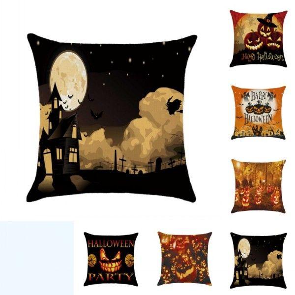 45cm * 45 centimetri Arancione Luci zucca di copertura del cuscino di cotone federa decoracion cuscino modello di tela copertura di Halloween per la casa Pillowc decorativo